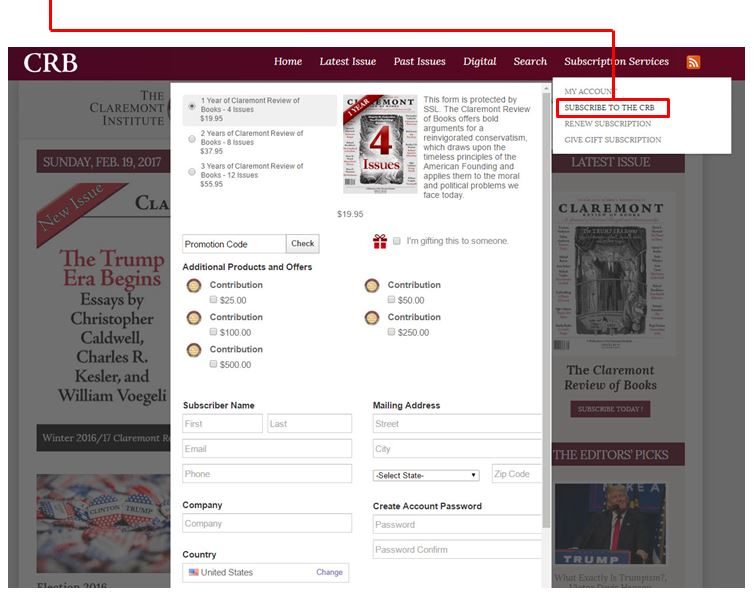 Claremont Review of Books Online Help
